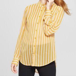 Striped Chiffon Button Down Shirt, XXL